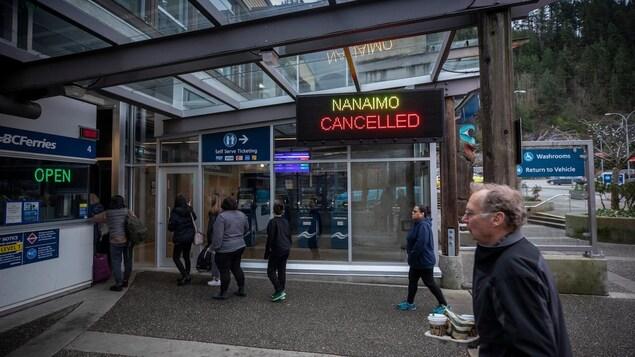 BC Ferries indique qu'une traversée vers Nanaimo est annulée.