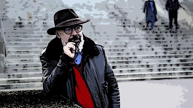 Pierre Martineau, photo transformée en illustration