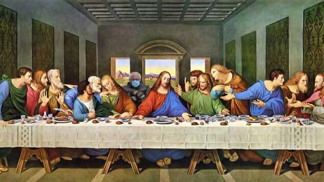 Montage de Bernie Sanders sur une toile de l'époque de la Renaissance signée par Léonard de Vinci.