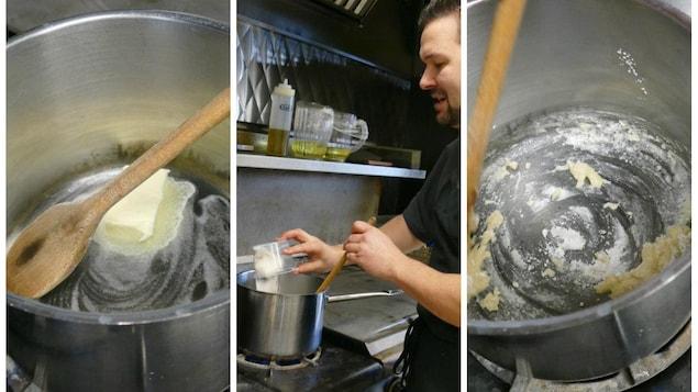 Luc incorpore le beurre et farine dans le chaudron pour sauce béchamel.