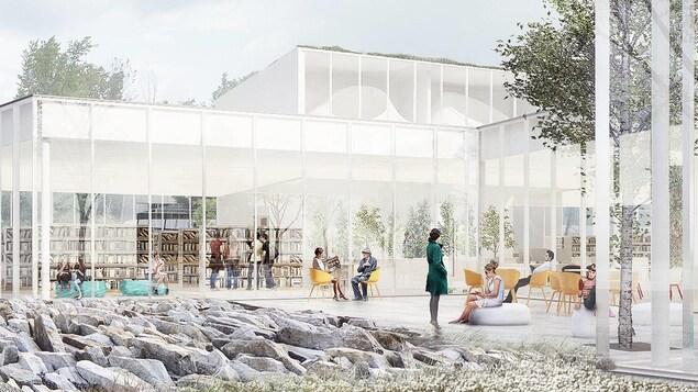 La bibliothèque comportera une cour extérieure avec un jardin de roche.