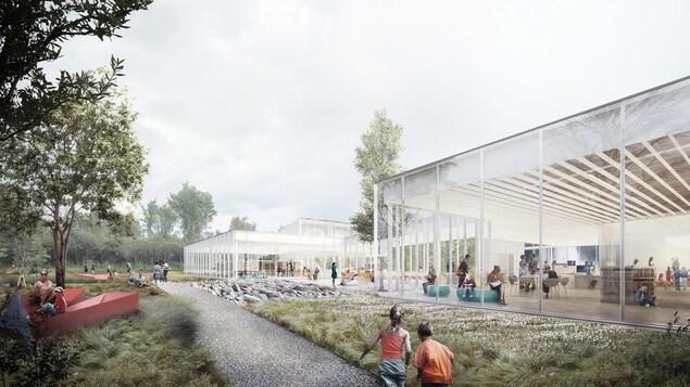 La bibliothèque sera entièrement vitrée et entourée de verdure.