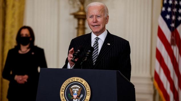 Joe Biden en compagnie de Kamala Harris.