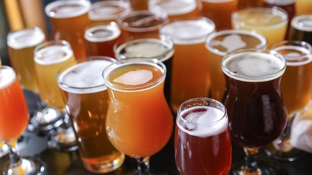 Une douzaine de verres remplis de diverses bières artisanales.