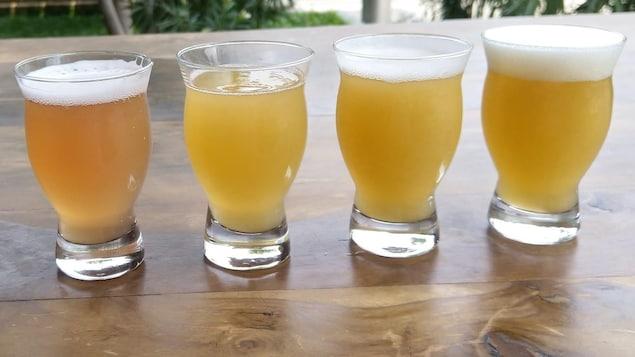 Des verres remplis de bière.