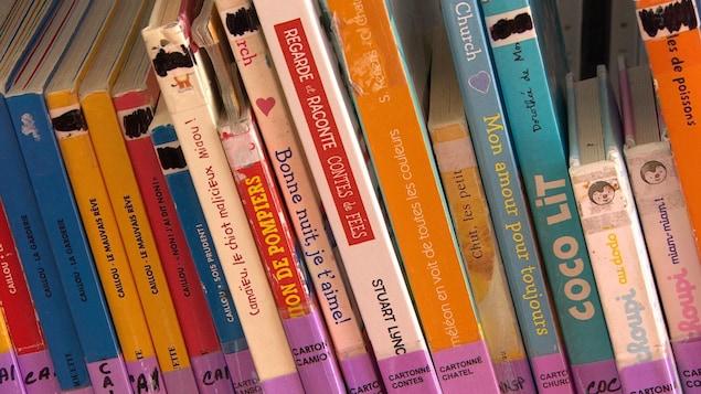 Des livres sur une étagère.