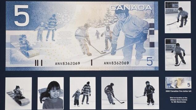 Billet de cinq dollars avec les photos originales d'enfants qui jouent dehors en exerçant différentes activités (hockey, patinage et toboggan).