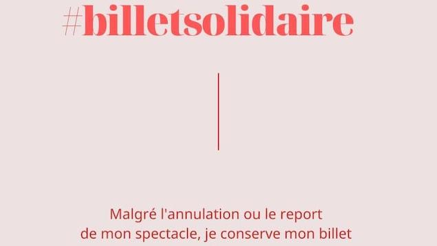 «#billetsolidaire - Malgré l'annulation ou le report de mon spectacle, je conserve mon billet en soutien à la culture» est écrit en rose vif sur un fond rose pâle.
