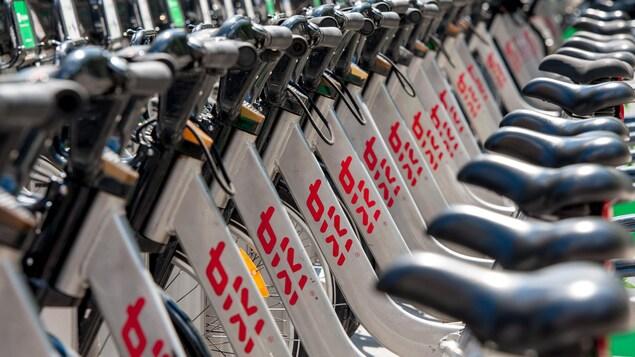 Une station de vélos BIXI, à Montréal.