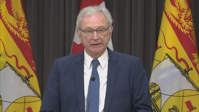 Le premier ministre du Nouveau-Brunswick, Blaine Higgs, le 28 avril 2020 à Fredericton.