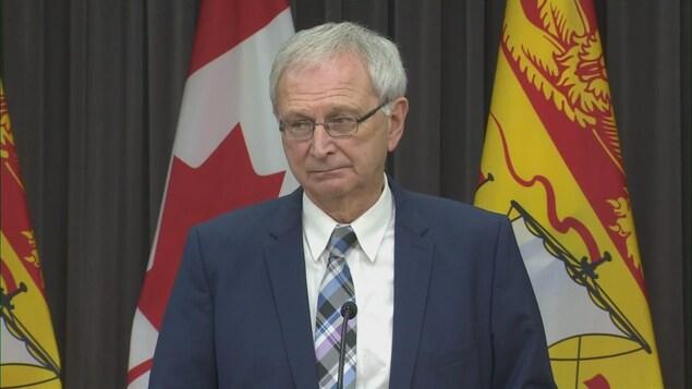 Le premier ministre du Nouveau-Brunswick, Blaine Higgs, lors d'un point de presse le 20 novembre 2020.