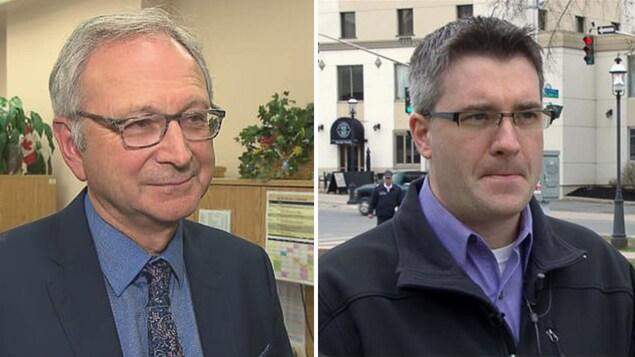 Blaine Higgs et Kris Austin, chefs respectifs du Parti progressiste-conservateur et de l'Alliance des gens.