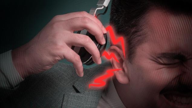 Choc auditif provenant d'un casque d'écoute