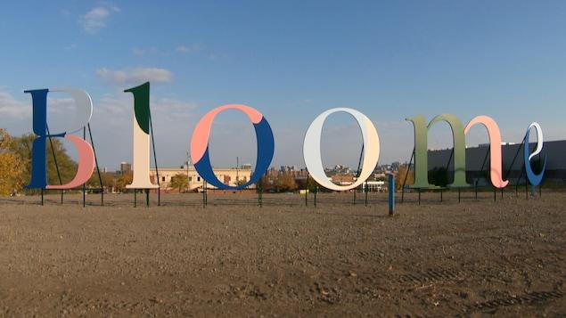 Des lettres hautes d'au moins deux mètres forment le mot «Bloome» sur le terrain vacant situé coin Saint-Jospeh et Montclair.