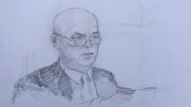 Un croquis de Bob Paulson à la barre des témoins