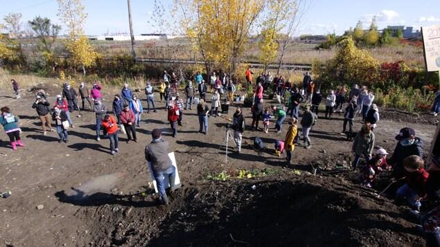 Des personnes sont réunies sur un terrain boisé.