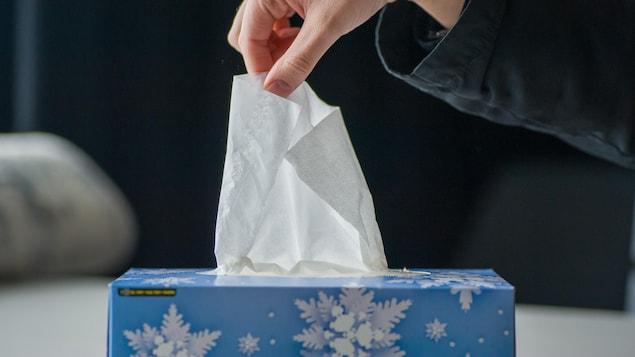 Une main prend un mouchoir dans une boîte.