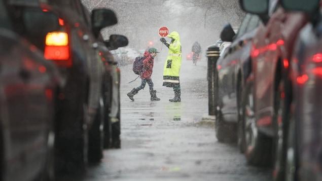 Un brigadier fait traverser la rue à un jeune écolier.