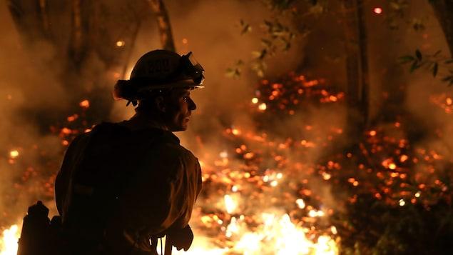 Un pompier surveille la progression d'un feu de forêt près de Calistoga en Californie