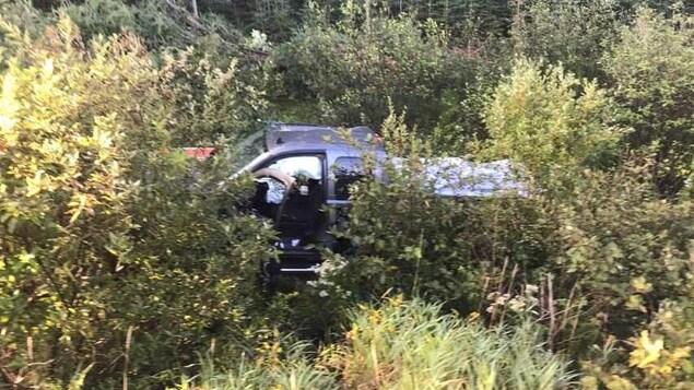 Le camion de Jonathan Harvey, après son accident au Nouveau-Brunswick.