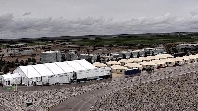 Un camp de tentes à Tornillo, au Texas, près de la frontière américaine avec le Mexique.