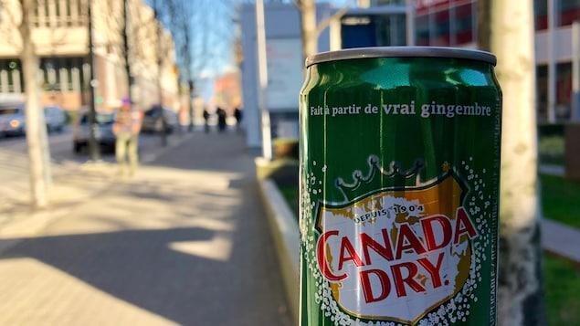 La cannette où l'on peut lire le slogan « Fait à partir de vrai gingembre, depuis 1904 » et « Canada Dry.»