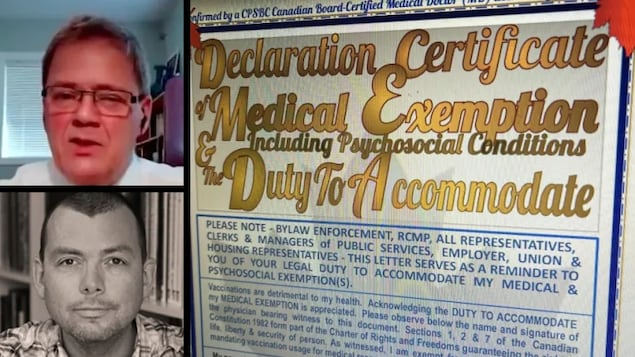 CBC News has obtained a phoney mask and vaccine exemption 'certificate' purportedly signed by Dr. Stephen Malthouse, shown here at top left. It appears to have been produced through the website EnableAir.com, which has been linked to Dr. Gwyllyn Goddard, bottom left.