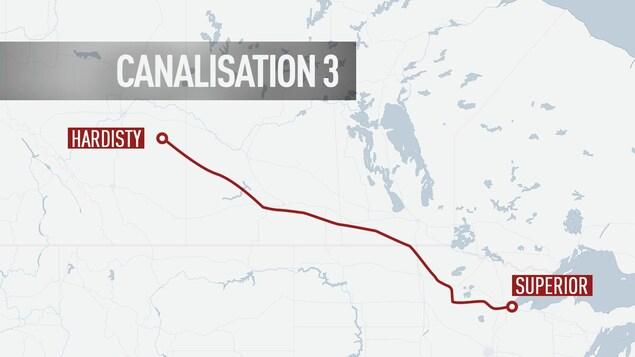Le tracé de la canalisation 3 de l'entreprise Enbridge.