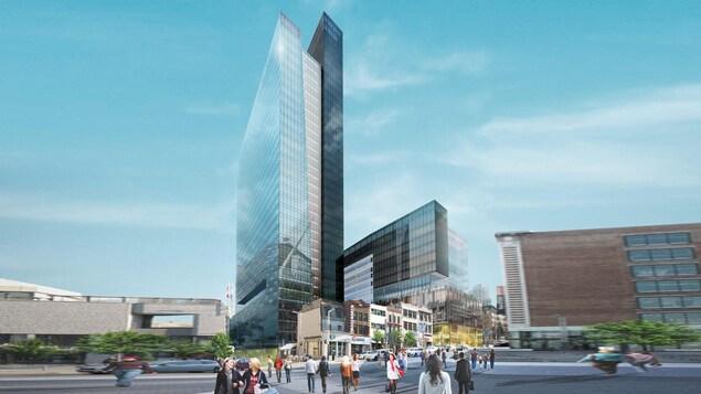 Le projet de la firme Canderel et du Fonds de solidarité FTQ prévoit la construction de deux tours de bureaux sur le site de l'ancien Spectrum.