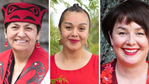 加拿大参加 2021 大选的几位原住民候选人 (从左到右):Joan Philip(新民主党)、Adeana Young(绿党)和 Sherri Moore-Arbour(自由党)。
