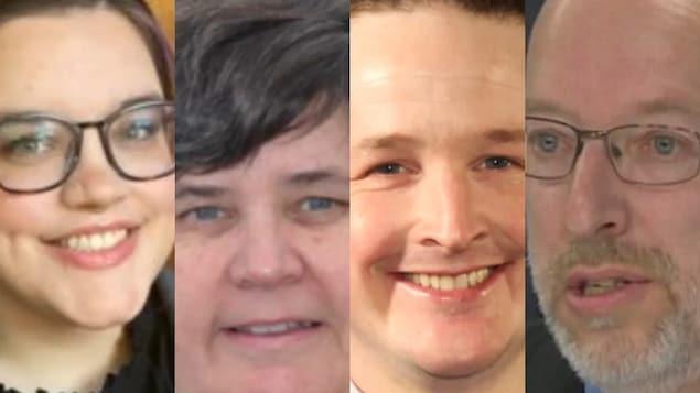 Les quatre candidats de la circonscription de Lac Melville.