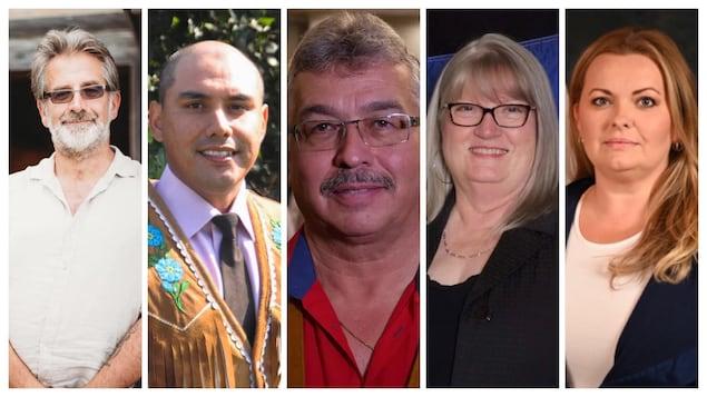 Un collage des photos des 5 candidats.