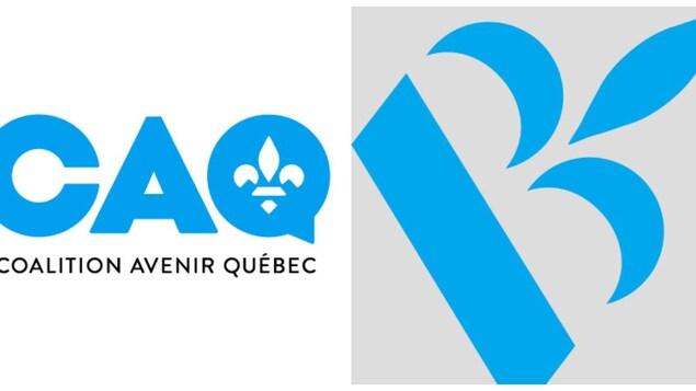 Photos présentant les logos de la CAQ et du BQ