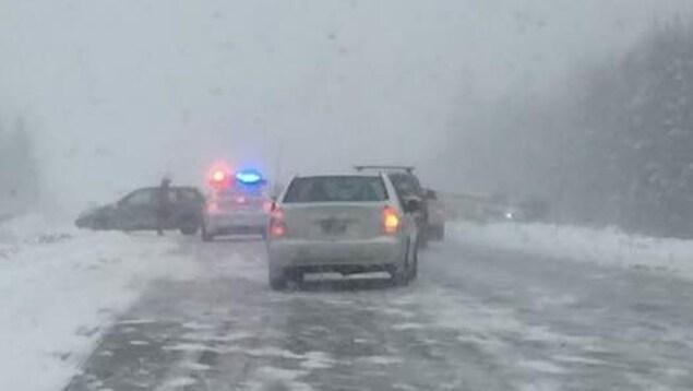 Carambolage sur l'autoroute 40 à Neuville, près de Québec