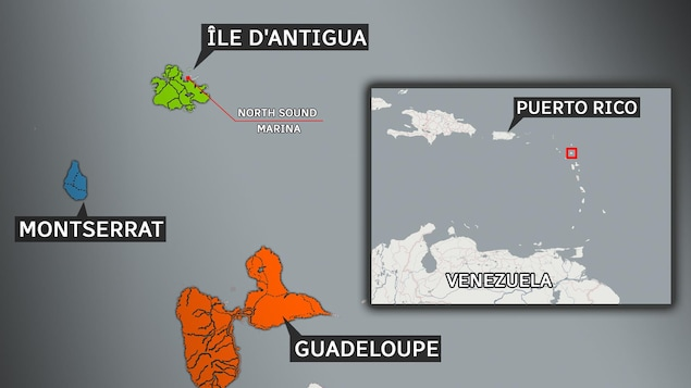 Une carte qui situe l'île d'Antigua.