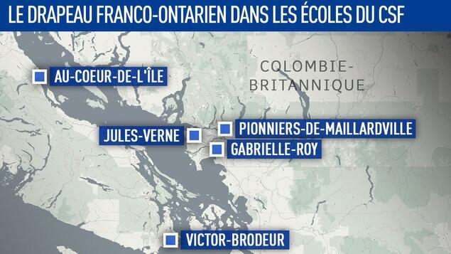 Une carte situe les cinq écoles qui ont hissé le drapeau franco-ontarien.