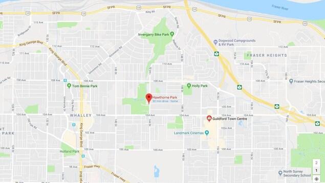 Une carte de Google, avec le parc Hawthorne au centre.