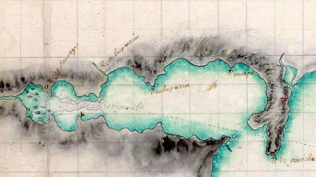 Détail d'une carte de la Ristigouche (c. 1716) du sieur Jean-François de Verville. À remarquer que le village mi'gmaq est situé du côté nord de la Ristigouche