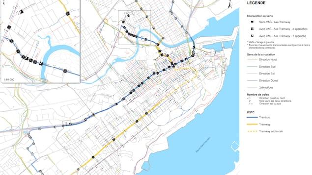 Carte des rues de la ville de Québec