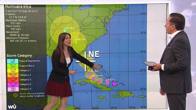 Julie Emond, journaliste et géographe, explique à l'animateur de RDI Matin, Marc-André Masson, de quelle façon les vents d'un ouragan touchent une cible.