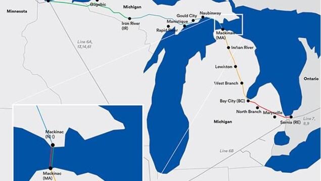 Mapa que muestra el recorrido de la Línea 5 de Enbridge a través de  Michigan y el estrecho de Mackinac.
