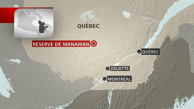 Une carte montrant où se situe la réserve de Manawan par rapport aux villes de Québec, Montréal et Joliette.