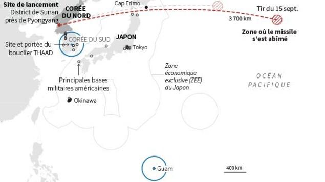 Carte de l'océan Pacifique localisant la trajectoire du missile nord-coréen qui a survolé l'île japonaise de Hokkaido avant de s'abîmer dans le Pacifique.