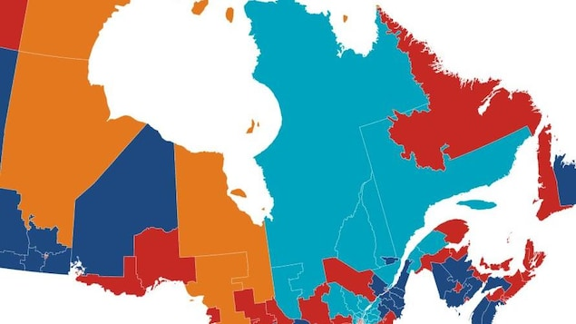 La carte du Québec illustrant les partis qui ont remporté les élections dans les différentes régions.