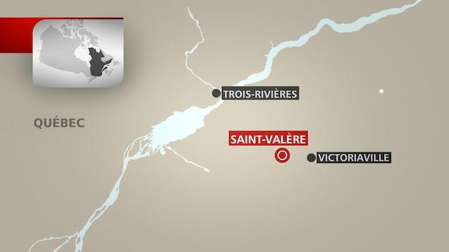 Carte de la municipalité de Saint-Valère, au Centre-du-Québec
