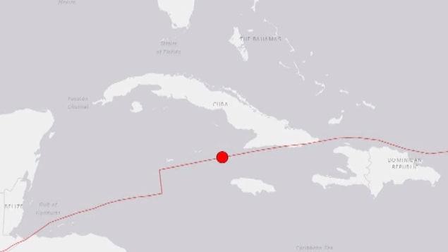 Carte montrant un point rouge et une ligne entre Cuba et la Jamaïque.