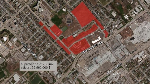 Carte représentant les terrains de la Défense nationale dans le secteur de Sainte-Foy