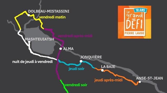 Carte indiquant le trajet des cyclistes dans la région