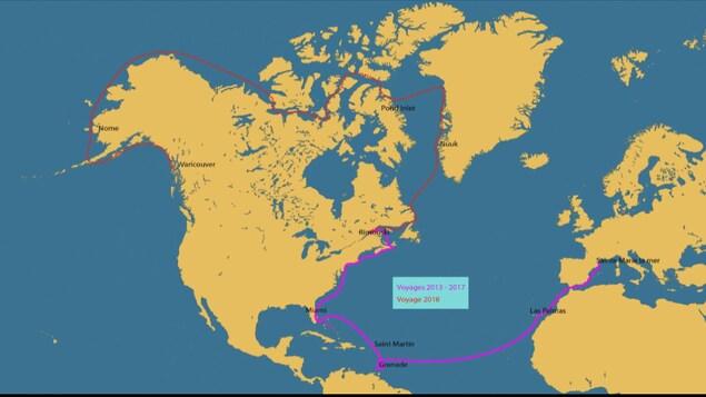 Carte du monde avec un tracé partant de la France, se rendant à Rimouski, puis jusqu'à Vancouver.