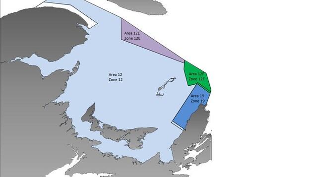 Carte de la zone 12 - pêche au crabe des neiges.